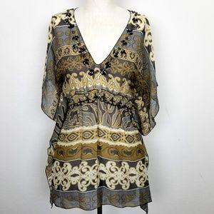 Hale Bob 100% Silk Kimono Festival Blouse